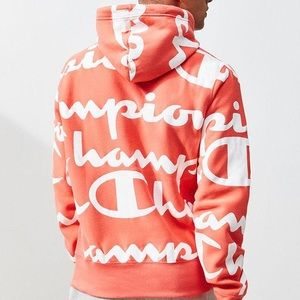 Champion reverse weave orange and white all over hoodie size small men's